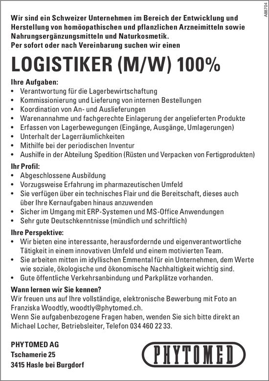 Logistiker (m/w) 100%, Phytomed AG, Hasle bei Burgdorf, gesucht
