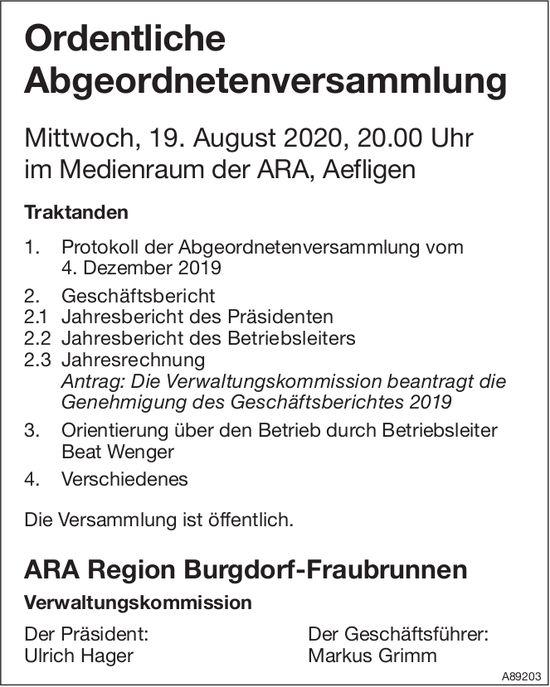 ARA Region Burgdorf-Fraubrunnen - Ordentliche Abgeordnetenversammlung, 19. August, Aefligen