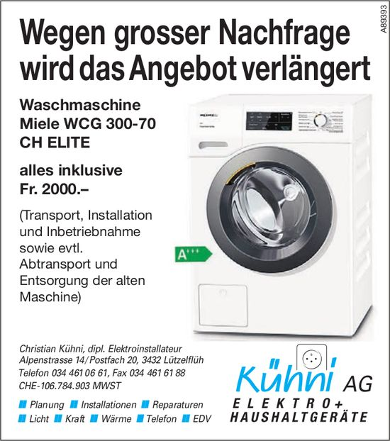 Kühni AG, Lützelflüh - Wegen grosser Nachfrage wird das Angebot verlängert