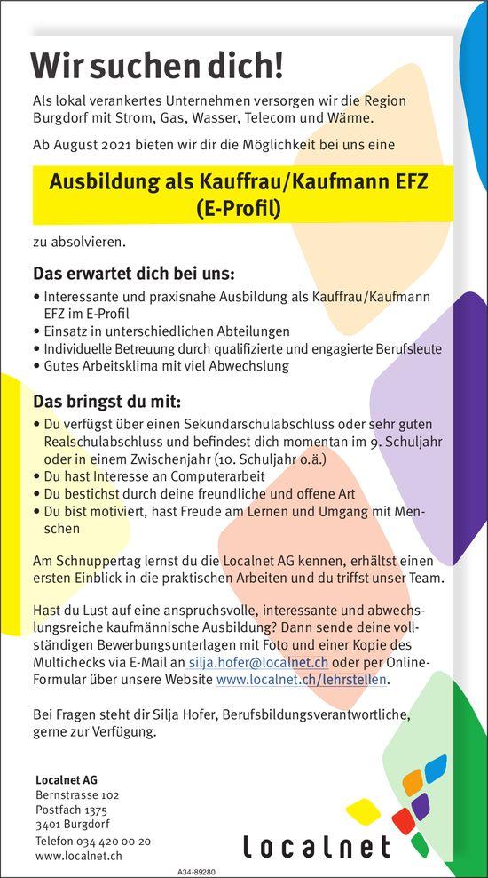 Wir suchen dich! Ausbildung als Kauffrau/Kaufmann EFZ, Localnet AG, Burgdorf