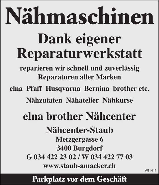 Nähcenter-Staub, Burgdorf - Nähmaschinen reparieren wir schnell und zuverlässig