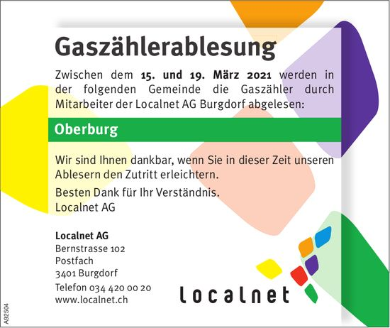 Gaszählerablesung, Localnet AG, 15. - 19. März, Oberburg