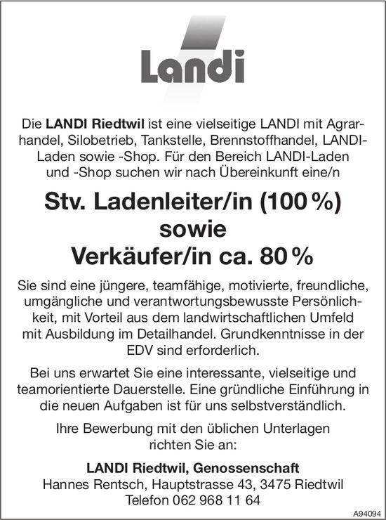 Stv. Ladenleiter/in (100%) sowie Verkäufer/in ca. 80%, Landi Riedtwil, gesucht