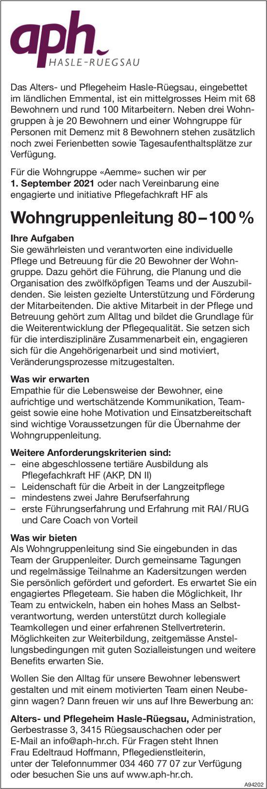 Wohngruppenleitung 80 – 100%, Alters- und Pflegeheim Hasle-Rüegsau, Rüegsauschachen, gesucht
