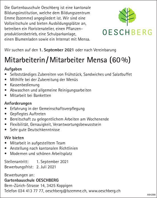 Mitarbeiterin / Mitarbeiter Mensa (60%), Gartenbauschule Oeschberg, Koppigen, gesucht