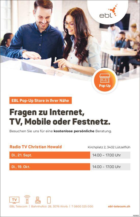 Kostenlose, persönliche Beratung: Fragen zu Internet, TV,  Mobile oder Festnetz, 19. Oktober, Lützelflüh