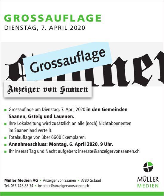 Anzeiger von Saanen,  Gstaad - GROSSAUFLAGE, 7. April