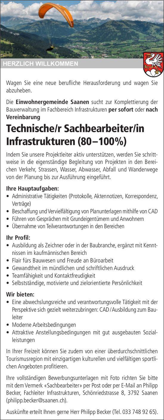 Technische/r Sachbearbeiter/in Infrastrukturen (80 –100%),Einwohnergemeinde, Saanen, gesucht