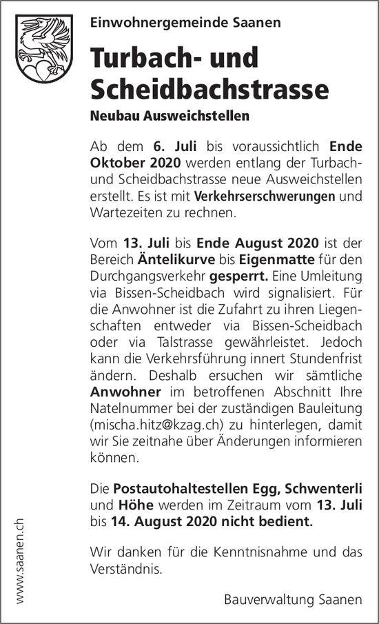 Bauverwaltung, Saanen - Turbach- und Scheidbachstrasse,  Neubau Ausweichstellen