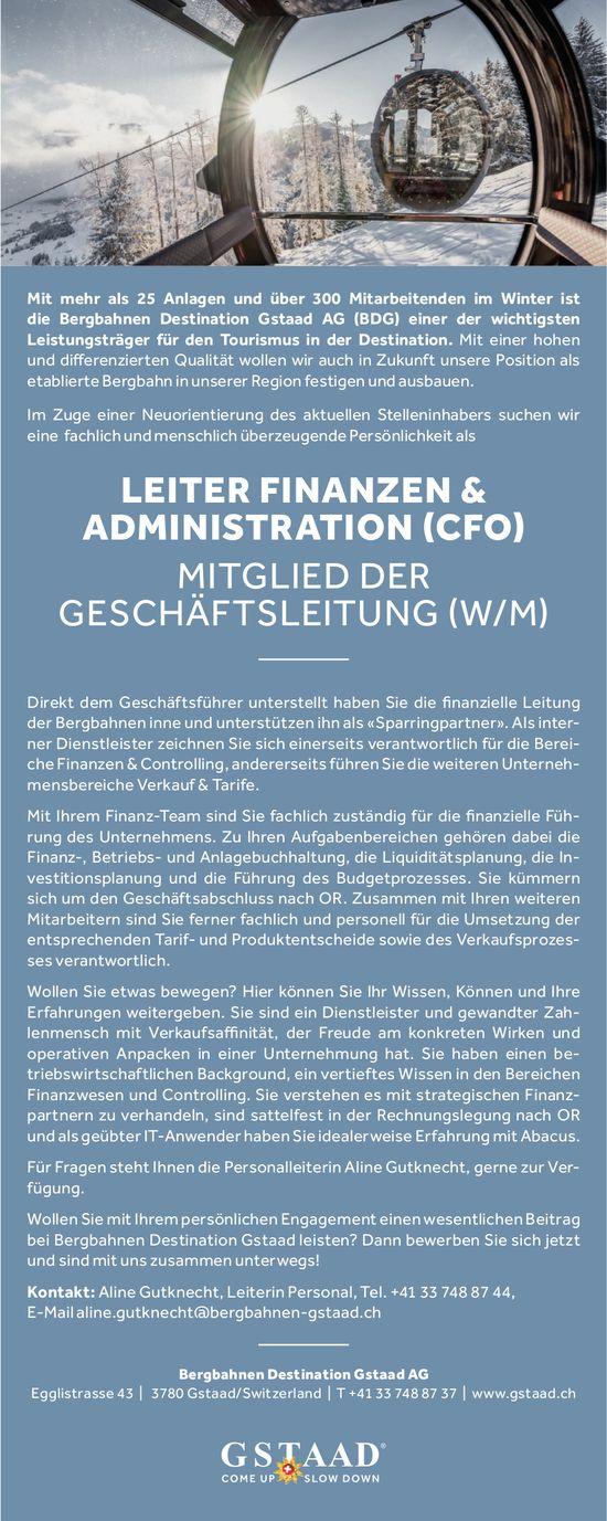 Leiter Finanzen &  Administration (CFO) & Mitglied der Geschäftsleitung (w/m), BDG AG, gesucht