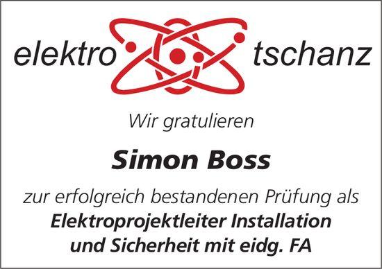 Elektro Tschanz - Wir gratulieren Simon Boss zur erfolgreich bestandenen Prüfung