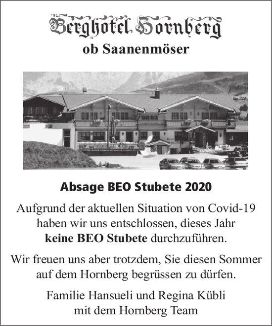 Berghotel Hornberg, Saanenmöser - Absage Beo Stubete 2020
