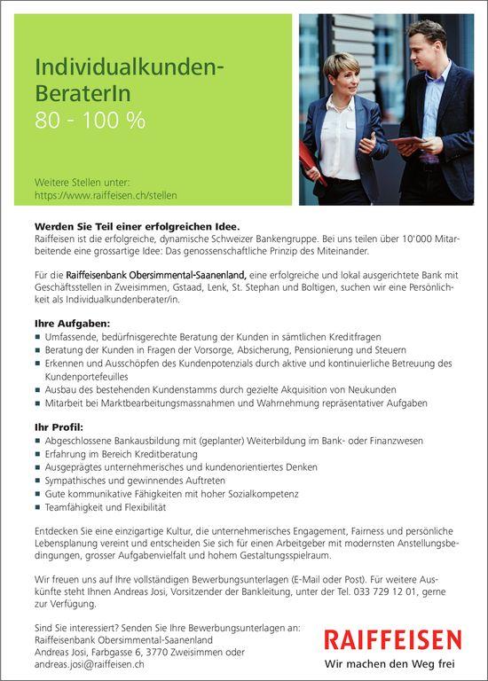 Individualkunden-Berater/in 80 - 100%, Raiffeisenbank Obersimmental-Saanenland, Zweisimmen, gesucht