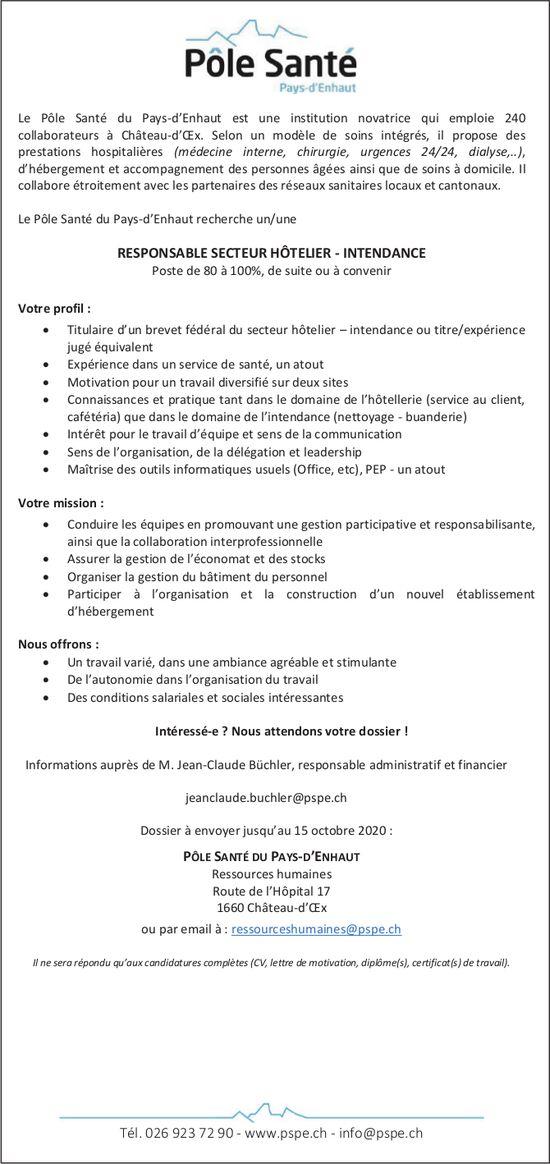 Responsable Secteur Hôtelier-Intendance, Pôle Santé du Pays-d'Enhaut, Château-d'Oex, recherché