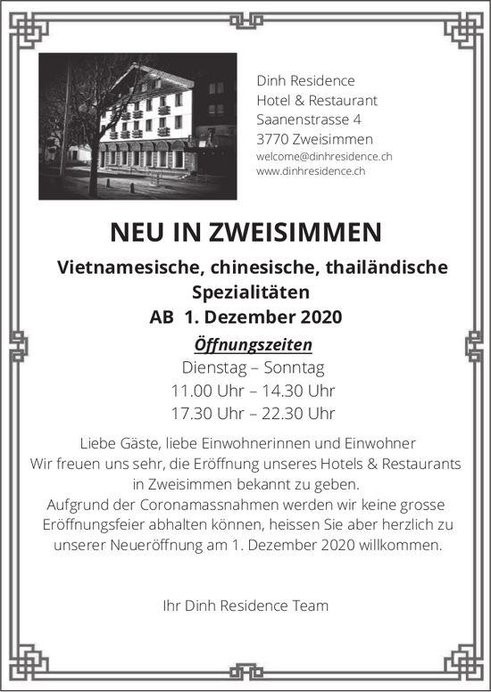 Neu in Zweisimmen - Vietnamesische, chinesische, thailändische Spezialitäten, Dinh Residence,  ab 1. Dezember, Zweisimmen