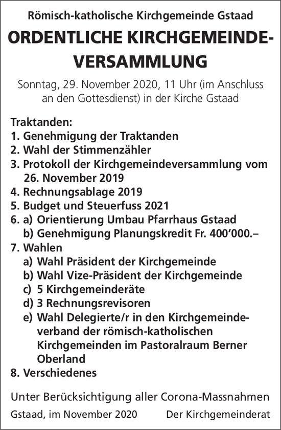Ordentliche Kirchgemeinde-Versammlung, 29. November, Kirche, Gstaad