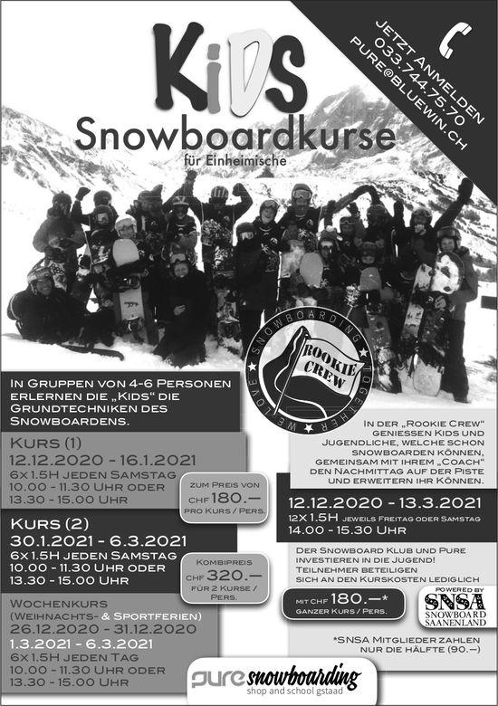 Kids Snowboardkurse für Einheimische, ab 12. Dezember, Gstaad