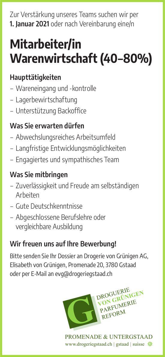 Mitarbeiter/in Warenwirtschaft (40–80%), Drogerie von Grünigen, Gstaad, gesucht