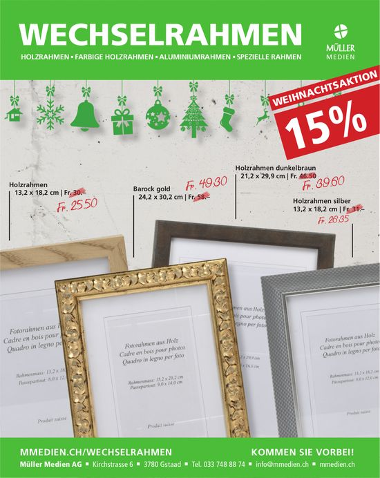 Müller Medien AG, Gstaad - Weihnachtsaktion Wechselrahmen 15% Rabatt