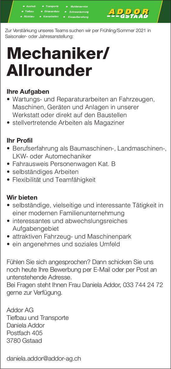 Mechaniker/ Allrounder, Addor AG, Gstaad, gesucht