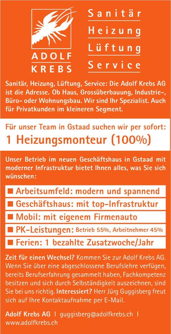 Heizungsmonteur (100%), Adolf Krebs AG, Gstaad, gesucht