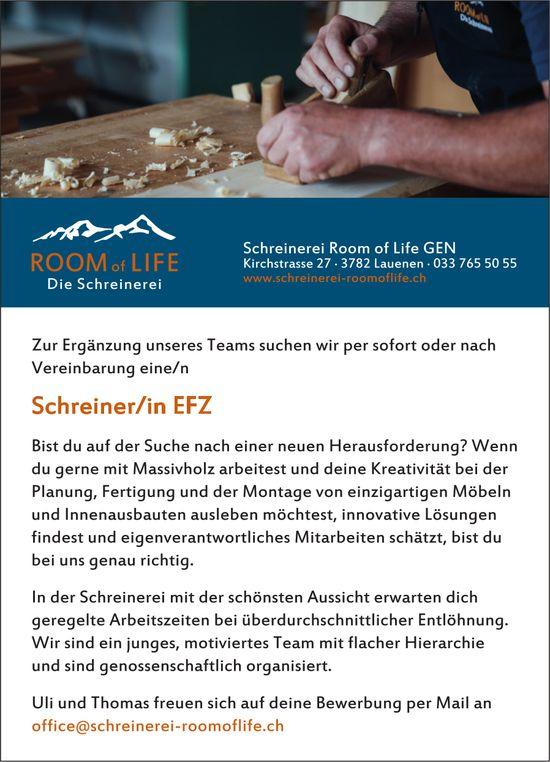 Schreiner/in EFZ, Schreinerei Room of Life Gen, Lauenen, gesucht