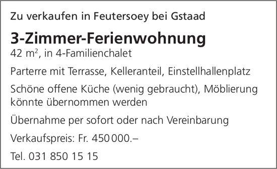 3-Zimmer-Ferienwohnung, Feutersoey bei Gstaad, zu verkaufen
