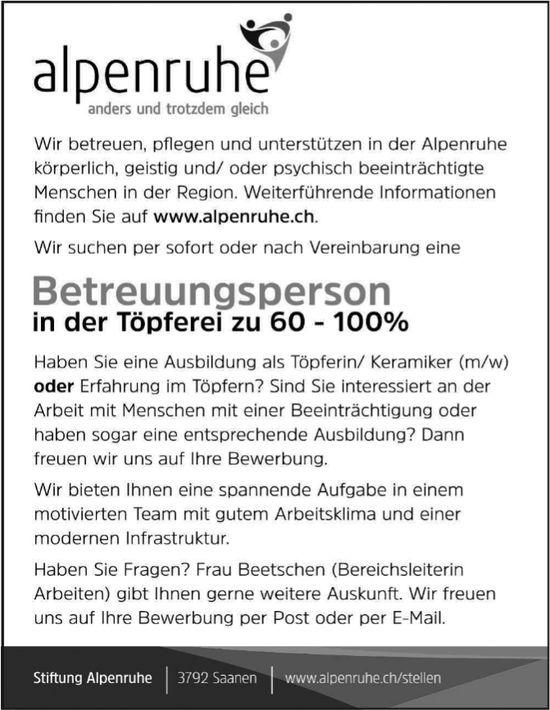 Betreuungsperson in der Töpferei, Stiftung Alpenruhe, Saanen, gesucht