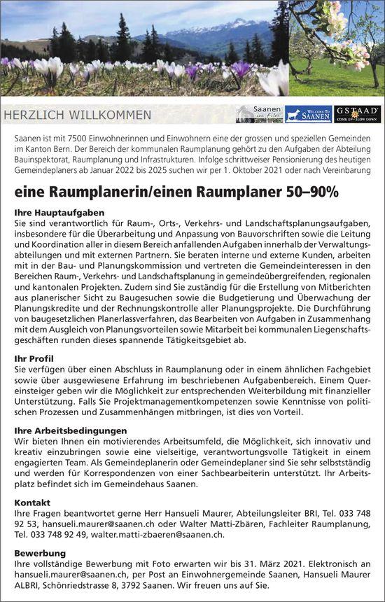 Raumplanerin/Raumplaner 50–90%, Gemeinde, Saanen, gesucht