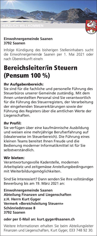 Bereichsleiter/in Steuern (Pensum 100%), Gemeinde, Saanen, gesucht