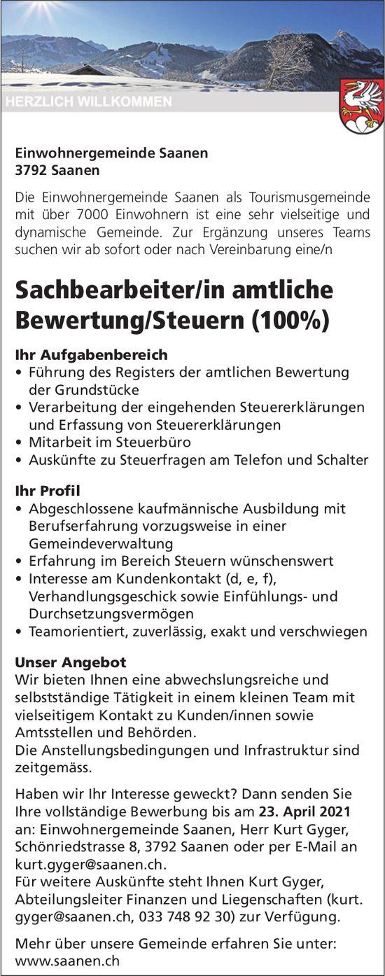 Sachbearbeiter/in amtliche Bewertung/Steuern (100%), Saanen, gesucht