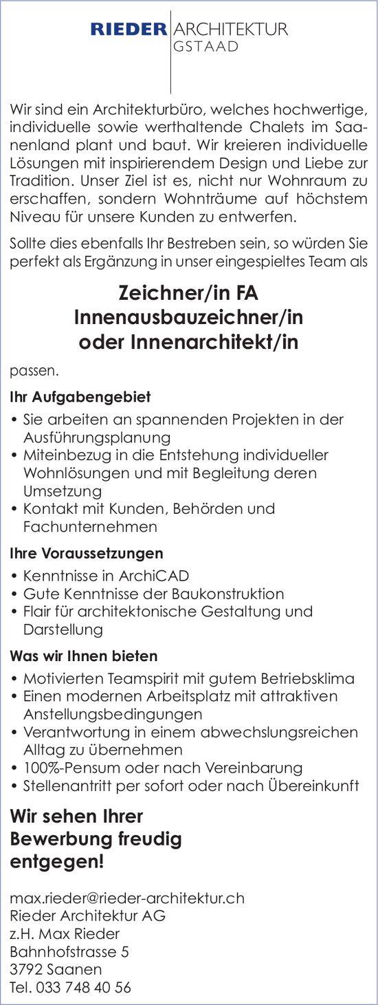 Zeichner/in FA Innenausbauzeichner/in oder Innenarchitekt/in, Rieder Architektur AG, Saanen, gesucht