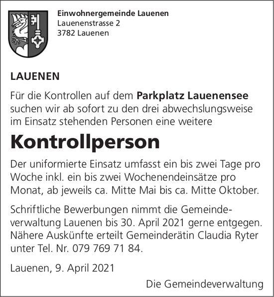 Kontrollperson, Parkplatz Lauenensee, Lauenen, gesucht