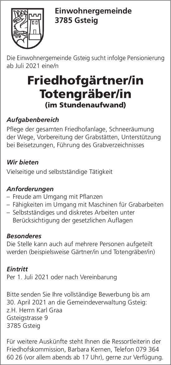 Friedhofgärtner/in, Totengräber/in, Einwohnergemeinde, Gsteig,  gesucht