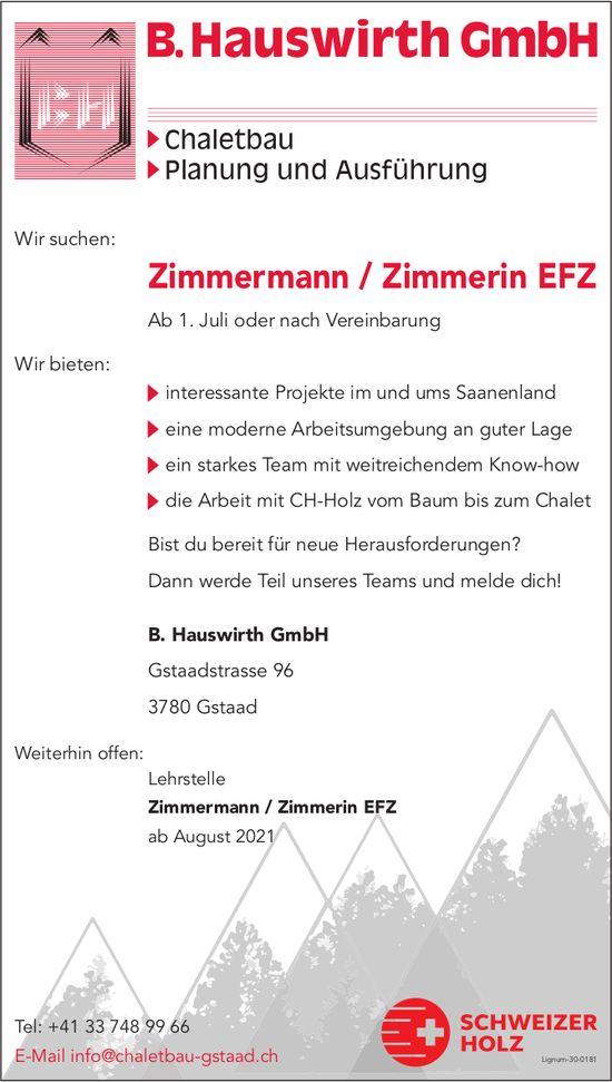 Zimmermann / Zimmerin EFZ, B. Hauswirth GmbH, Gstaad, gesucht