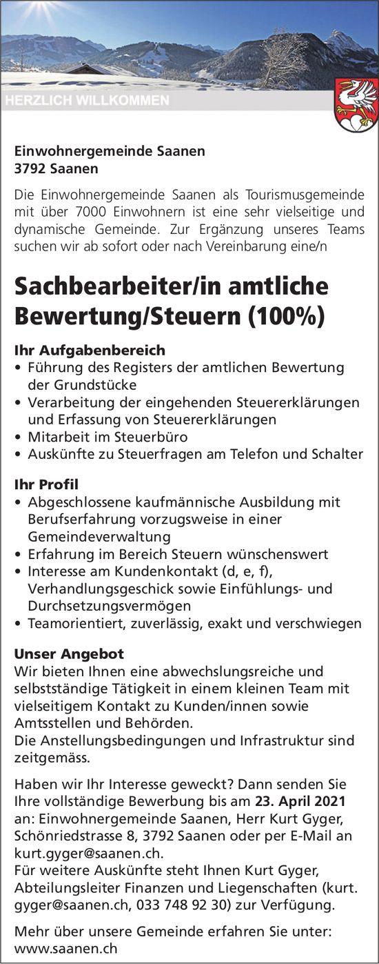 Sachbearbeiter/in amtliche Bewertung/Steuern (100%), Einwohnergemeinde, Saanen, gesucht
