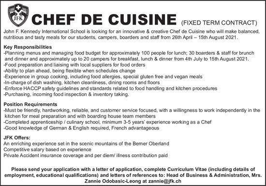 Chef de Cuisine (fixed Term Contract), John F. Kennedy International School, researched