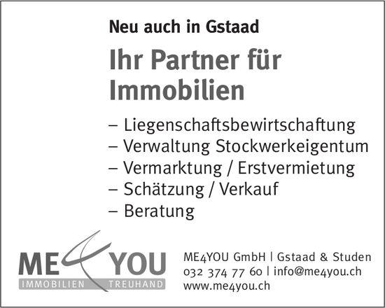 ME4YOU GmbH, Gstaad & Studen - Ihr Partner für Immobilien