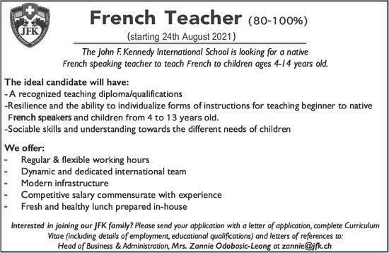 French Teacher (80-100%), John F. Kennedy International School, gesucht