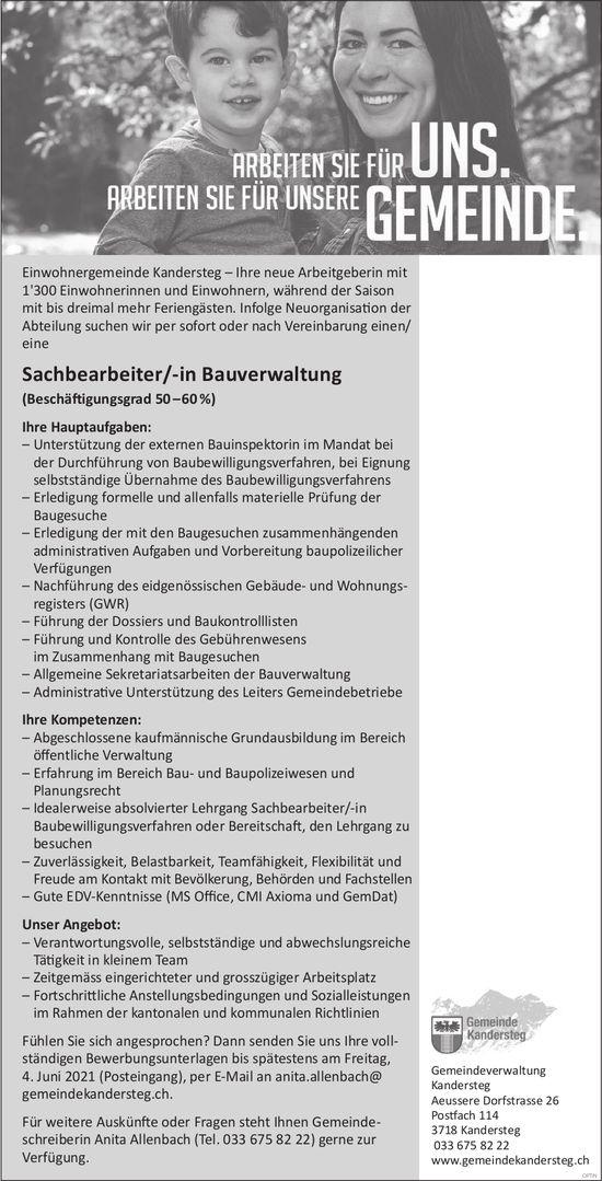 Sachbearbeiter/-in Bauverwaltung, Gemeinde, Kandersteg, gesucht