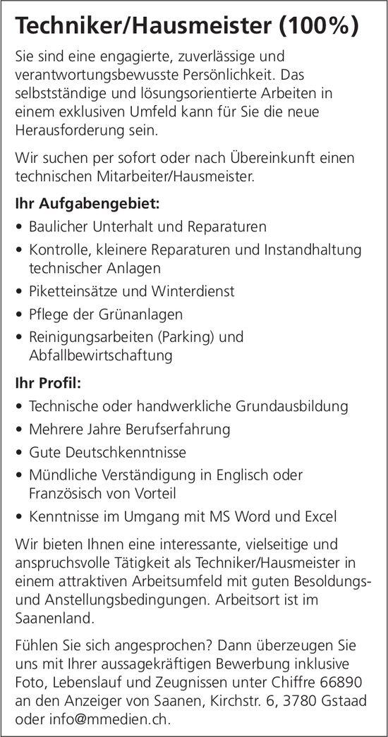 Techniker/Hausmeister (100%), Gstaad, gesucht