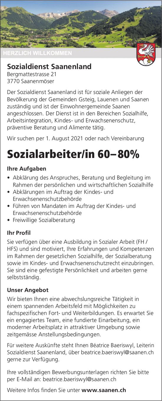 Sozialarbeiter/in 60– 80%, Sozialdienst Saanenland, Saanenmöser, gesucht