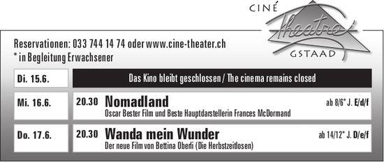 Kinoprogramm, 16. + 17. Juni, Ciné Theatre, Gstaad