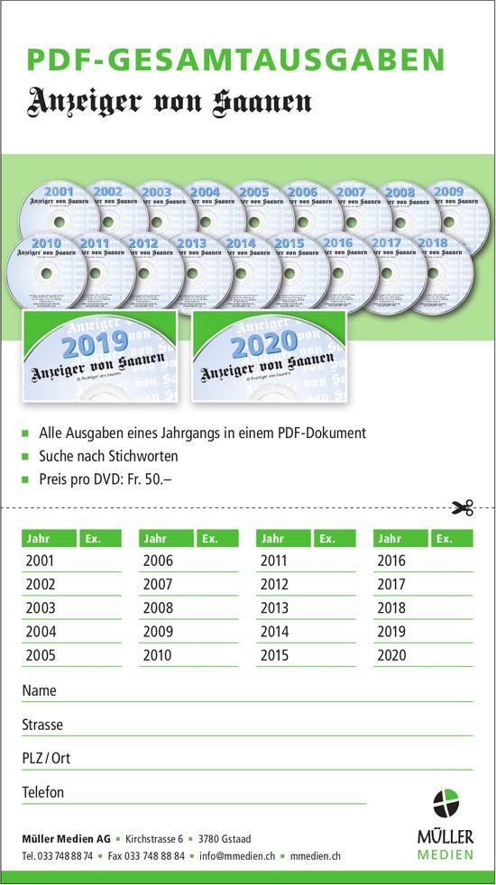 Müller Medien AG, Gstaad - PDF-Gesamtausgaben Anzeiger von Saanen