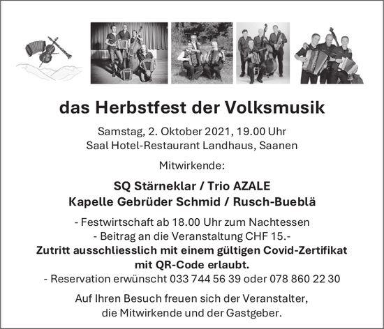 Herbstfest der Volksmusik, 2. Oktober, Saal Hotel-Restaurant Landhaus, Saanen