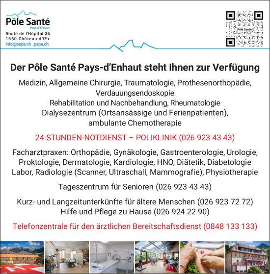 Château-d'Oex - Der Pôle Santé Pays-d'Enhaut steht Ihnen zur Verfügung