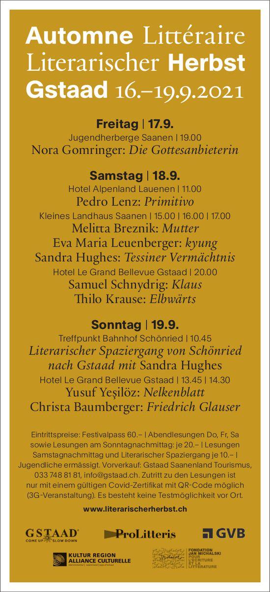 Automne Litteraire / Literarischer Herbst, 16. - 19. September, Gstaad