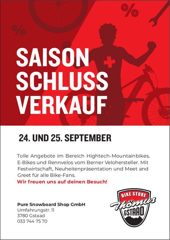 Saison Schluss-Verkauf, 24./25. September, Pure Snowboard Shop GmbH, Gstaad