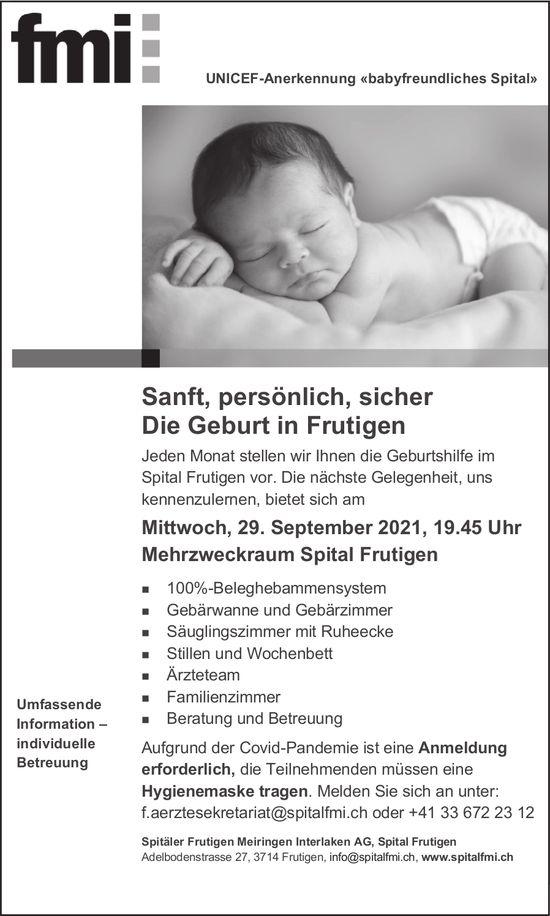 Sanft, persönlich, sicher - Die Geburt in Frutigen, 29. September, Mehrzweckraum Spital, Frutigen