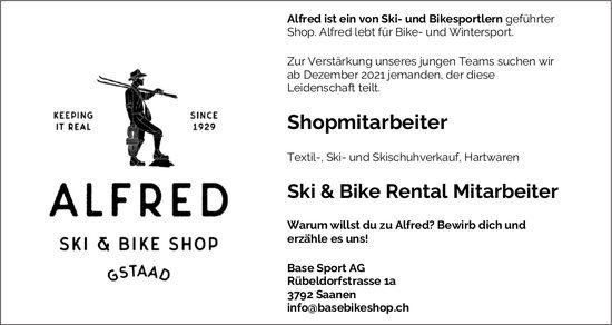 Shopmitarbeiter und Ski & Bike Rental Mitarbeiter, Base Sport AG, Saanen, gesucht